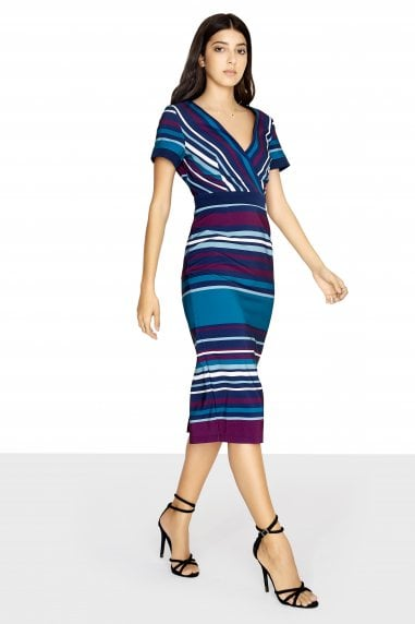 Adelaide Mock Wrap Dress With Striped Skirt