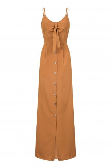 Sigala Tie Maxi Dress With Button Detail