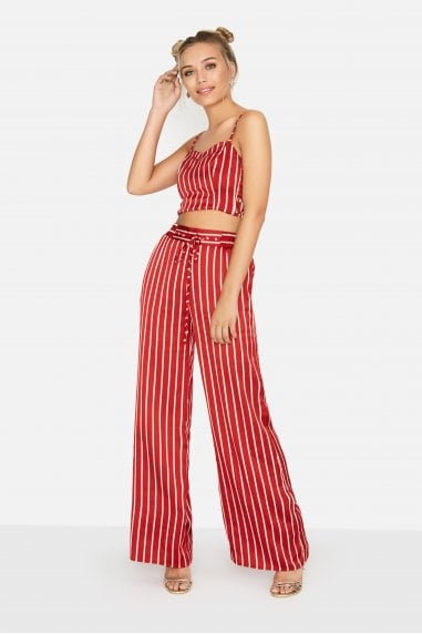 Emil Palazzo Trousers in Satin Stripe