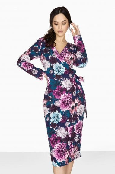 Paxton Wrap Dress In Bright Floral
