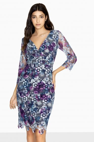 Madeleine V-Neck Dress In Printed Lace