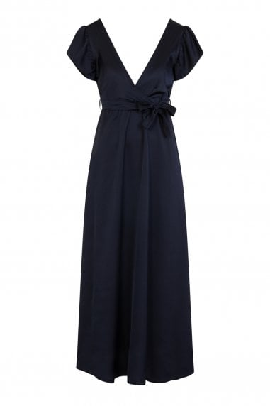 Pucci Silky Plunge Maxi Dress In Navy