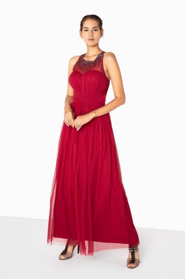 Felicity Embellished Mesh Maxi Dress