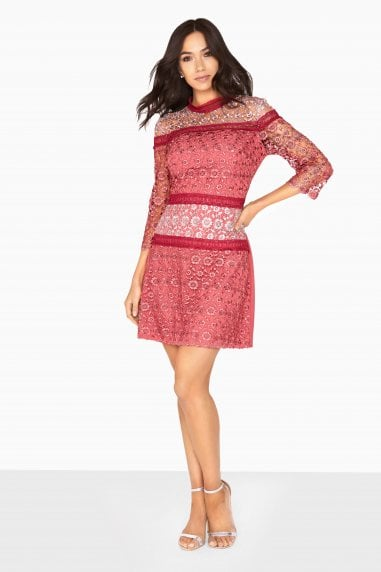 Megan Mixed Crochet Panel Shift Dress