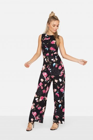 Prima Floral Spot Cross Back Jumpsuit