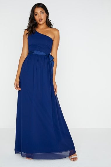 Bridesmaid Pearl One Shoulder Satin Top Maxi Dress