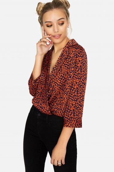 Mambo Mock Wrap Bodysuit In Leopard