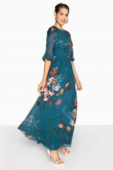 Amelie Vintage Floral Maxi Dress With Lace