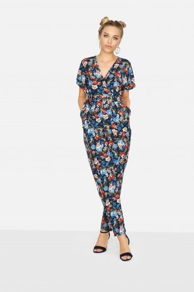 Aden Wrap Jumpsuit In Navy Floral