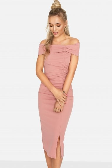 Sweet Thing Ruched Bardot Dress