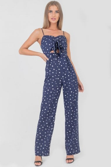 Galina Polka Dot Tie Front Jumpsuit