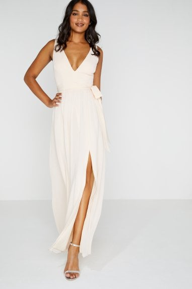 Nude Plunge Tie Maxi Dress