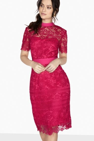 Clifton High Neck Lace Pencil Dress