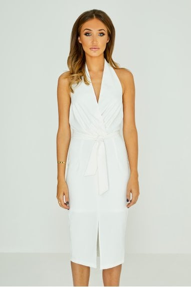 White Halterneck Plunge Midi Dress