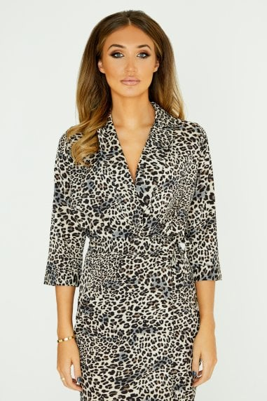 Mock Wrap Bodysuit In Leopard