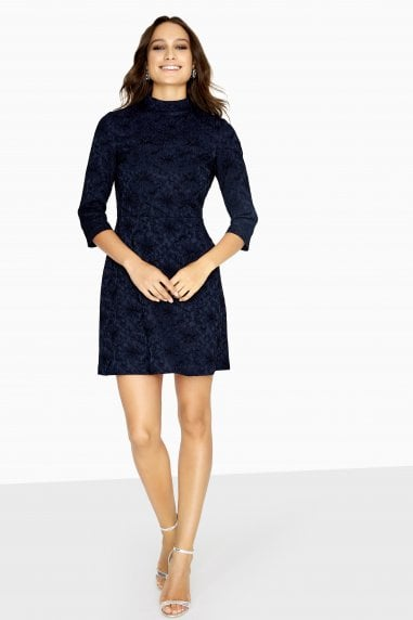 Gradi Jacquard High Neck Dress