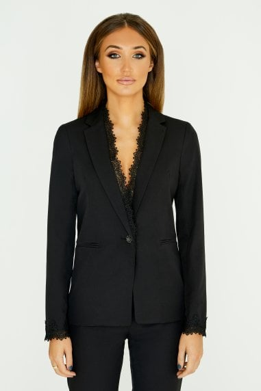 Black Lace Trim Blazer