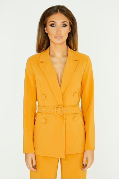 Mustard Double-Breasted Belted Blazer