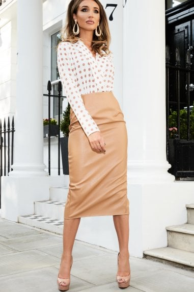 cf4bcd427b8 Tan Leather Midi Pencil Skirt