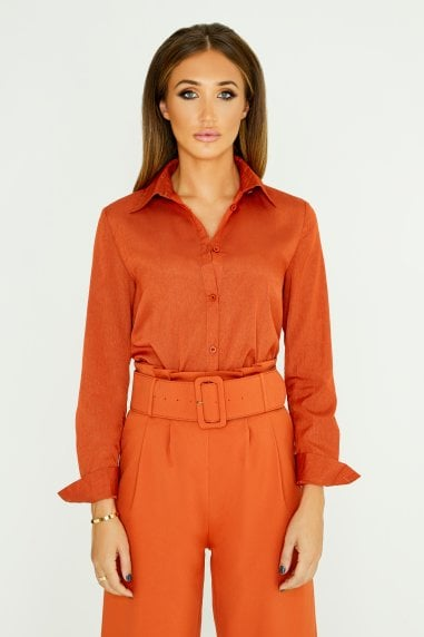 Classic Shirt In Burnt Orange
