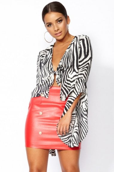 Zak Animal Print Tie Front Top