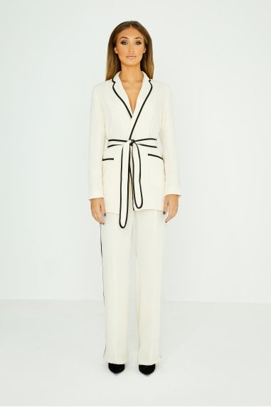 White Wide Leg Trousers With Piping