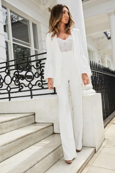 White Wide Leg Jumpsuit With Lace