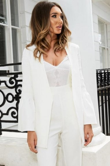 White Open Blazer With Fluted Sleeves