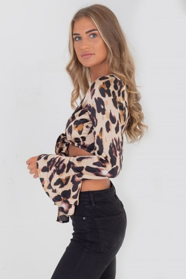 Baia Tie Front Top In Leopard