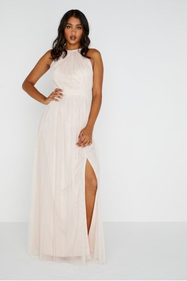 Heather Mesh Halter Maxi Dress