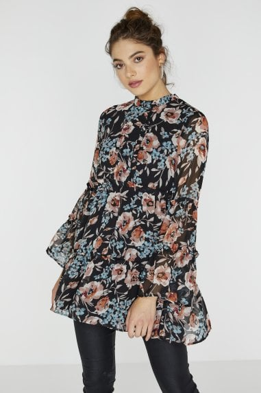 Florean Tiered Smock Dress In Floral