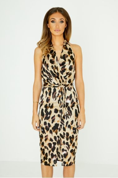 Halterneck Plunge Midi Dress In Leopard