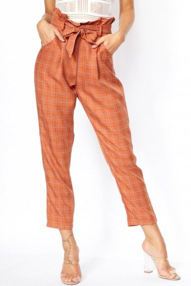 Riot Orange Paperbag Trouser
