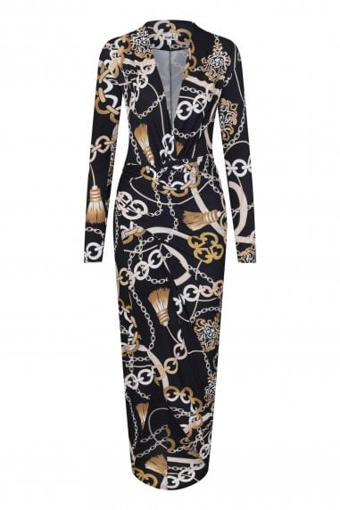 Divine Chain Print Wrap Dress