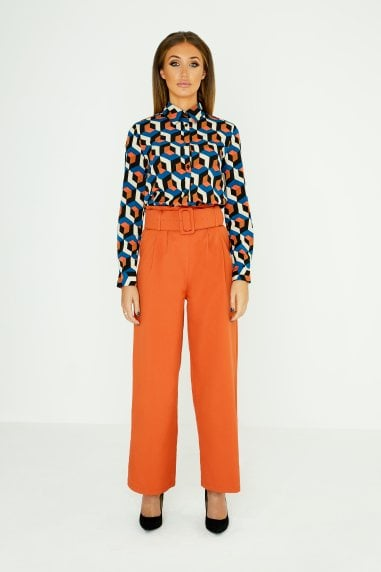 Burnt Orange Paperbag Trousers