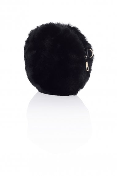 Round Fur Clutch Bag In Black