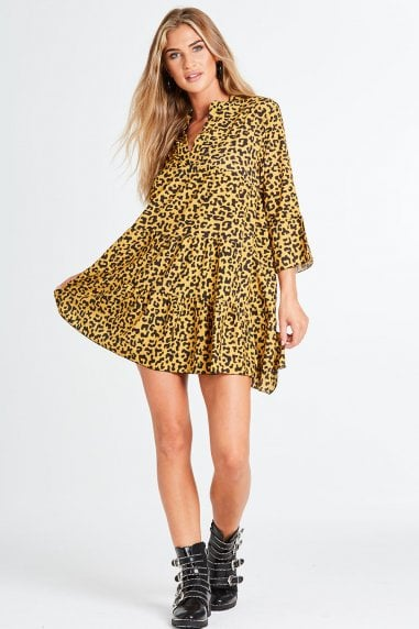 Melrose Smock Dress In Leopard