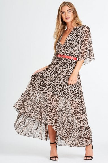 Bailey Mock Wrap Dress In Leopard