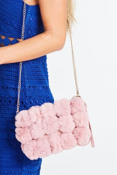 Pink Pom Pom Fur Clutch Bag