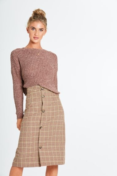 Cade Check Midi Skirt