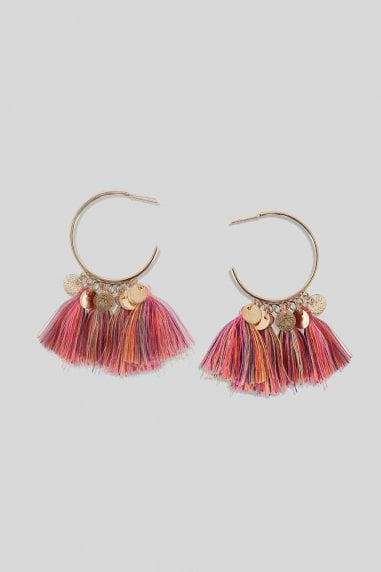 Pink Hoop Tassel Earrings