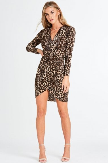 Glint Leopard Mini Wrap Dress