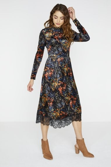 Narcissa Velvet Midi Dress In Floral Print