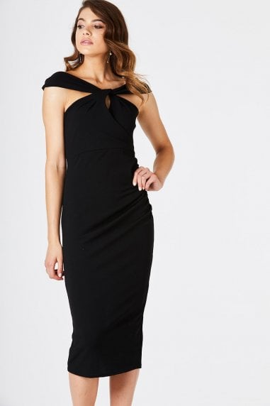 Ferula Twist Front Bardot Dress