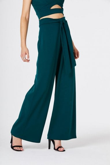Lilia Green Wide Leg Trousers