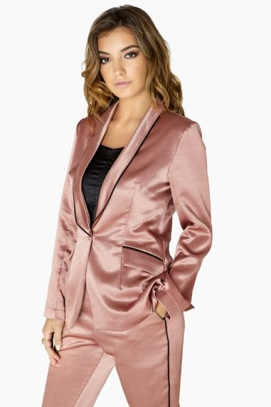 Whitney Contrast Piping Satin Blazer