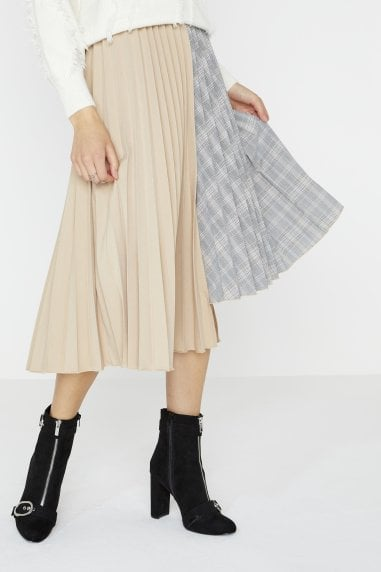 Charity Asymmetric Pleat Skirt In Mixed Check