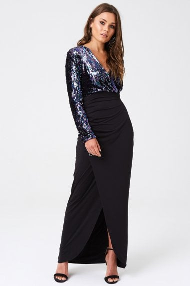 Sequin Top Dress With Thigh Split