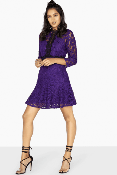 Fiona Fit And Flare Lace Panel Dress