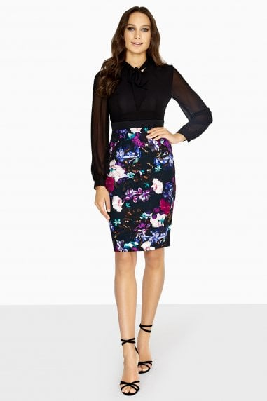 Vale Pussybow Dress With Floral Skirt